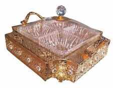 Gold metal serving tray with cover & 4 condiment bowls / Candy Box