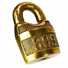CORBIN 999 Padlock Brass Old Vintage Embossed Lock (no key)