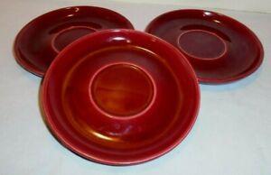 "BAUER Pottery, Brusche Saucers, 3 Burgundy, Ca U.S.A., 6"" Across, Vintage"