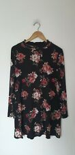 NEW LOOK HIGH NECK VINTAGE STYLE FLORAL SMOCKED SHIFT DRESS SIZE 14