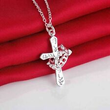 """Womens 925 Sterling Silver Plated Crown Ring Cross Jesus Pendant Necklace 18"""""""