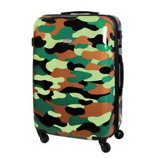 XL Rigide à roulettes valise de voyage 4 roues Camouflage 80 Liter