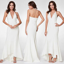 Ever-Pretty Long Bridesmaid Dresses White V Neck Vintage Prom Ball Dress 07230