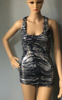 Jane Norman Womens Metallic Party Vest Top U.K. Size 8 Pewter Black Silver Exc