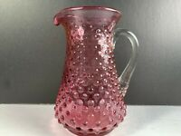 Amethyst Hob Nail Pitcher Clear handle Juice   Syrup Water Dining 5 1/4""