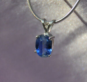 1.2 CT HANDCRAFTED 8MM X 6MM OVAL BLUE KYANITE PENDANT IN STERLING SILVER