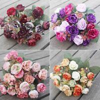1 Bouquet 21 Heads Fake Artificial Rose Silk Flower Leaf Home Wedding Decor Deer