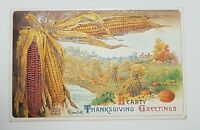 Antique 1909 Embossed Thanksgiving Postcard German Printed Corn Farm Pumpkins