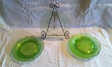 "8"" Octagonal Plates L.E. Smith ROMANESQUE Green Depression Glass"