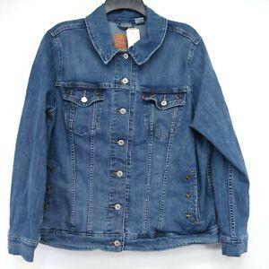New Levis Womens 77994 Stars Stonewash Trucker Jean Denim Jacket Plus Size 2X