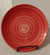 "Tabletops Unlimited Red Swirl 8 1/2"" Hand-Painted Salad Plate"
