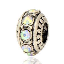 Loose Lovely 5pcs Tibetan Silver Color CZ Retro Bead fit European Charm Bracelet