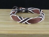 Leather Bracelet Medium Brown with White and Dark Brown Accents - Adjustable
