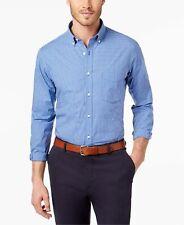 New $98 Club Room 15.5 32/33 Mens Regular-Fit Blue White Long-Sleeve Dress Shirt