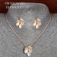 Bijou parure boucles collier pendentif  Swarovski® Elements œil de chat pq or