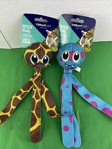 2 PK Vibrant Life Fetch Buddy Giraffe/Tritopus Interactive Dog Toy, Chew Level 3