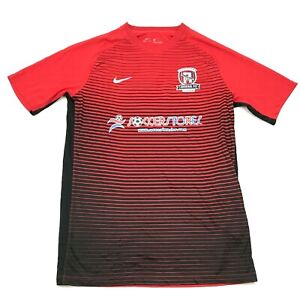 Nike Arsenal Soccer Jersey Size Medium M Red Dry FIt Shirt V-Neck Striped Tee