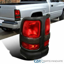 94-01 Dodge Ram 1500 2500 3500 Black Tail Lights Rear Brake Lamps Red/Clear Lens