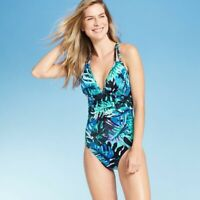 Women's Ruched One Piece Swimsuit - Aqua Green Tropical Blue, Sz XL