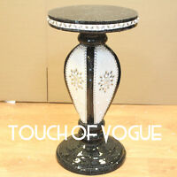 Black Mirrored Table Modern Flower Stand Bed Side Sparkle Lamp Romany Mosaic