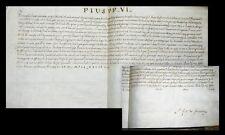 1777 pape pie vi. certificat de sur parchemin ratisbonne pars décret