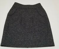 CAbi Womens Pencil Skirt Tweed Knit Pockets Knee Length Black White Career Sz 4