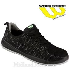 Workforce Steel Toe Cap Black Knitted Safety Shoes Boots Trainers Lightweight 35