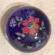 Vintage Murano Blue Seguso Paperweight With Original Label