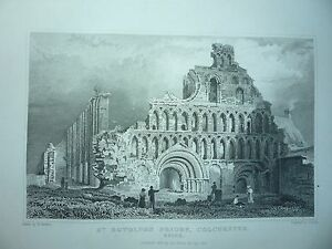 """ANTIQUE ENGRAVING DATED 1831. """" St. BOTOLPH'S PRIORY, ESSEX."""" RARE."""