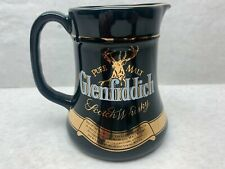 Vintage Pure Malt Glenfiddich Scotch Whisky Ceramic Pitcher Mug Glass Gold Trim