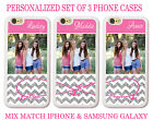 PERSONALIZED PHOTO PINK CHEVRON BEST FRIEND CUSTOM 3 CASES FOR iPhone X 8 7 6 SE