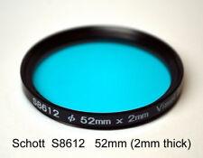 Schott S8612 52mm x 2mm IR Cut Filter, UV + Visual Bandpass IR Suppression