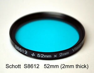 Schott S8612 52mm x 2mm IR Cut Filter, UV + Visual Bandpass IR Suppression