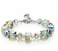 "Gorgeous Aurora Austria Bracelet with Crystals 18K White Gold Adjustable 7""-9"""