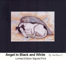 Greyhound Black and White Angel Signed Art Print NEW Kevin Z ARTTOGO
