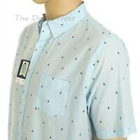 CROFT & BARROW Men's XXL TALL Short Sleeve NAVY SAILBOAT Print BLUE SHIRT 2XLT
