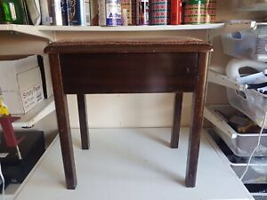 Large Lidded Footstool Foot Rest Brown Fabric Wooden Frame Legs Furniture Home D