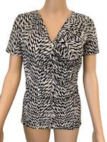 New Ex Debenhams Black White Casual Short Sleeve Blouse Top Size 8 - 16