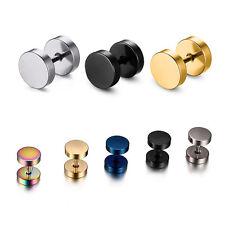 Cheater Fake Ear Plug Faker Illusion Stud Gold Silver Black Earring 3mm - 16mm