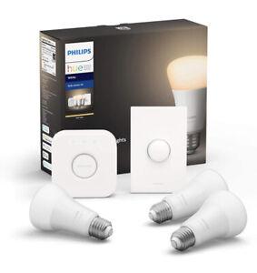 Philips Hue White Led Starter Kit - 3 Smart Bulbs, 1 Smart Button, 1 Hub, Alexa