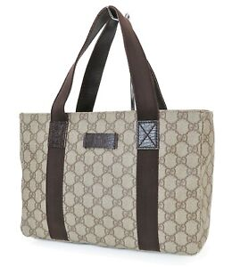 Authentic GUCCI Brown GG PVC Canvas Leather Tote Hand Bag Purse #39847