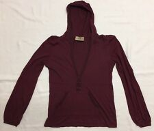 Burgundy Hooded Popover With Kangaroo Pocket By Juicy Couture Sz M EEUC