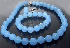 "Necklace bracelet Earring Set Aaa+18"" 14 Mm Natural blue jade beads"