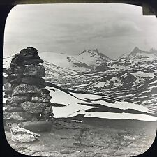 Antique Magic Lantern Glass Slide Photo Rock Stacking In Scotland Mountains