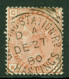 SG 151 1/- orange brown WMK spray. Very fine used Station Rd Hastings CDS...
