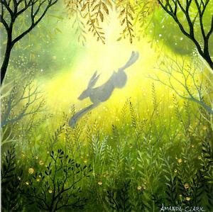 PAGAN WICCAN GREETING CARD Dawn Light GODDESS HARE Nature CELTIC AMANDA CLARK