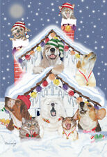 Dog with Cat Group Jolly Blizzard Christmas Cards Set of 10 cards & 10 envelopes