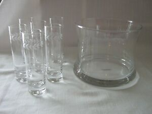 Pottery Barn BOXED 7 PC. SET Clear Glass Vodka Chiller & 6 Etched Shot Glasses
