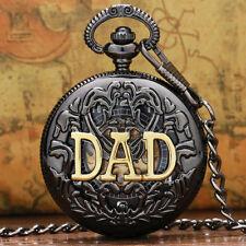 Retro Black Case DAD Design Mechanical Hand Wind Pocket Watch Pendant Chain