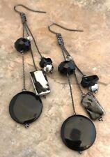 Designer Statement Earrings Black Shell Hematite Tones Nautical Premier Chic 8P